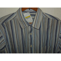 Camisa Izod De Lacoste Blanca Con Azul T L Cuello 16 1/2
