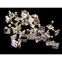 Broquel De Cuadro Con Zirconia Chapa De Oro Aretes