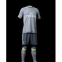 Uniforme Real Madrid Gris Playera Y Short Y Calcetas