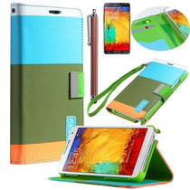 Funda Cartera Soporte Tricolor Pastel + Regalos G Note 3
