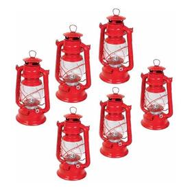 Kit 6 Quinque Lámpara De Petroleo Rojo