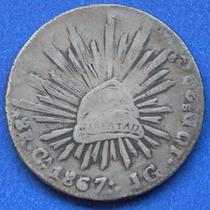 Moneda México Guadalajara 8 Reales 1867 J G