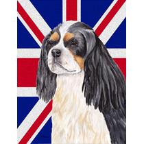 Cavalier Spaniel Inglés Con Union Jack Británica Bandera D