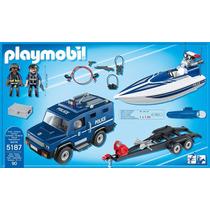 Playmobil 5187 Coche D Policia Y Lancha Ciudad Retromex!!