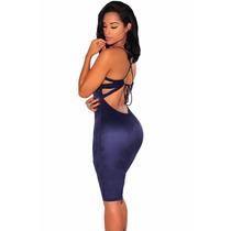 Sexy Mini Vestido De Suede Azul Con Tirantes Espalda Desnuda