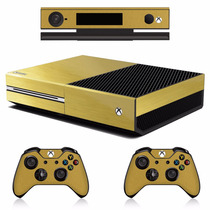 Skin Xbox One Oro Brushed Inc. Consola, 2 Controles 1 Kinect