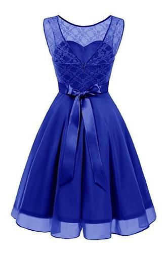 Vestido Damas Honor Boda Xv Encaje Floral Azul Rey 2xl En