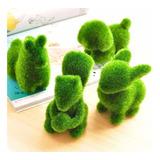 Juego 4 Figuras Animalito De Pasto Artificial Para Jardin Decoracion Casa Oficina Spa Ardilla Conejo Perro Anti Stress