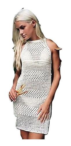 5e0ab0f1835e Salida De Playa Mujer Vestido Corto Blusa Cover Up Pareo Crochet ...
