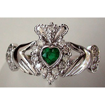 Anillo Celta Oro 10k Claddagh Irlandes Amor Bodas Esmeralda