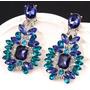 Aretes Vintage Moda Mujer Largos Cristal Azul Incluye Cajita