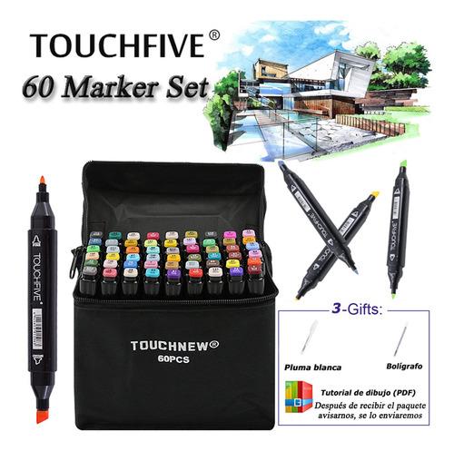 Touch Five 60 Colores Set Marcadores Marker Pen Lápiz Negro