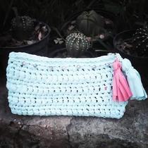 Clutch De Trapillo Ligero (bolso De Mano) Tejido En Crochet