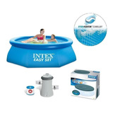 Alberca Piscina Easy Set 2.44 M Intex + Bomba + Cubierta