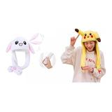 Gorro Orejas Movibles Conejo Bunny Pokemon Pikachu Kawaii