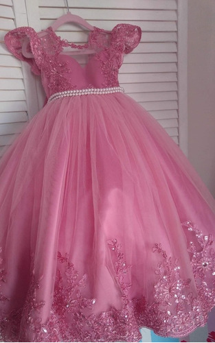 Hermoso Vestido Fiesta Para Niña Rosa Confección A Medida En