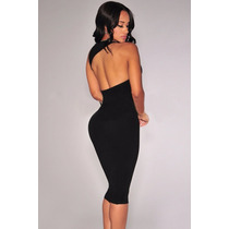 Moda Sexy Vestido Negro Asimetrico Espalda Desnuda Fiesta 2