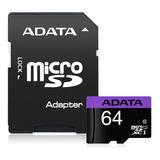 Adata Memoria Micro Sd Hc 64gb Uhs-i Clase 10 Celulares Alta Transferencia Mayoreo Barata Nueva 100% Original Sellada