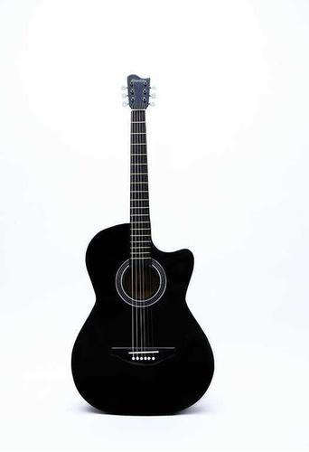 Guitarra Negra Con Brillo Acabado Deluxe Cuerdas De Metal