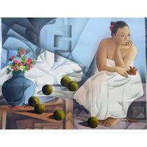 Leon Belauzaran Serigrafia Mujer Con Manzanas Grande