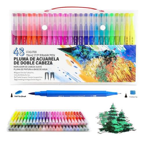 Rotuladores De Punta Pincel 48 Colores Con Punta Doble