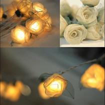 Serie Luz Led Con Forma De Rosas Blancas