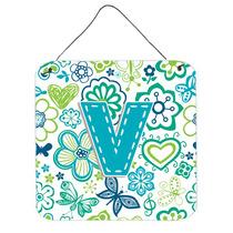 Letra V Flores Y Mariposas Del Trullo Azul De La Pared O Pue