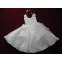 Nuevo Vestido Blanco De Organza 4- 5 Años Fiesta Graduacion