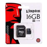 Memoria Micro Sd 16gb Clase 4 Kingston Adaptador Original