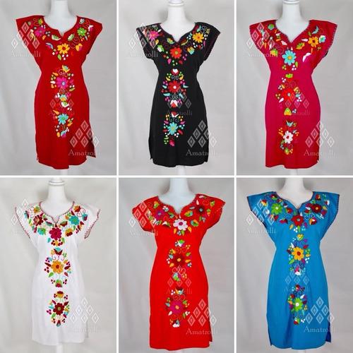 10635a5386 Lote De 6 Vestidos Artesanales Bordado Flores Mod. Celeste en venta ...