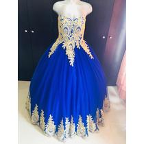 1942f33d65 Vestido De Xv Años 15 Quince Encajes Bordados Azul Rey en venta en ...
