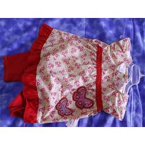 Conjunto Niña Bebé Rojo, Pantalon Y Camisa Elastico Ajustabl