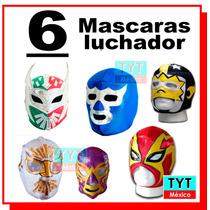 6 Mascaras Luchador Licra Unitalla Fiestas Boda Animaciones