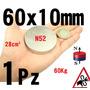1 Iman Neodimio De 60mm X 10mm Super Potente N52 Alcalinizar