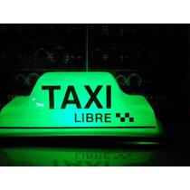 Copete Oficial Df Taxi Rosa Cdmx Acrilico Led Verde Y Rojo
