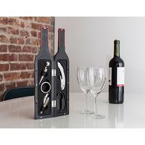 Kit Para Vino En Forma De Botella Grande Saca Corchos Set
