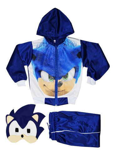 Disfraz Sonic + Mascara 2en1 Pans Completo Con Gorro