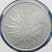 Moneda Mo 8 R Culiacan 1887 Espejo Error Falta Penca Nopal