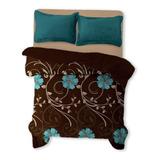 Cobertor Melocotton Flannel Estampado Matrimonial Burdeos