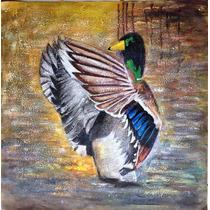 Pintura Arte Figurativo Al Óleo: Pato Silvestre