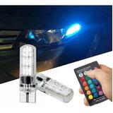 Kit Focos T10 Rgb Con Estrobo Control Remoto Led Pellizco Coche Iluminacion Tuning Auto