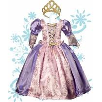 Vestido O Disfraz De La Princesa Rapunzel Tela De Lujo