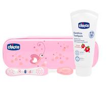 Kit Cepillo Pasta Dientes Chicco Rosa Higiene Bucal Bebe