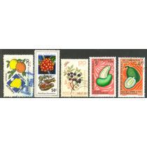 0343 Frutas Dif Países 5 Sellos Usados N H Modernos