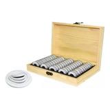 1 Caja Madera + 50 Capsulas Plástica Para Moneda Colección