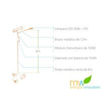 Poste Solar Con Lámpara Led De 30w, 10 A 12 Hrs Rnwkcn30w12v