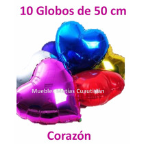 Globo Metalico Corazon 50 Cm Autosellantes Mayoreo