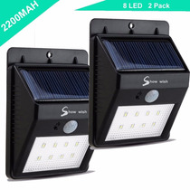 Wall Pack 8led, Con Celda Solar Y Sensor De Movimiento