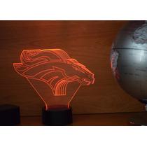 Lámpara Led Rgb 3d Acrílico Equipo Nfl Denver Broncos Video
