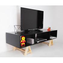 Mueble De Tv Acero Madera Diseño Moderno Minimalista